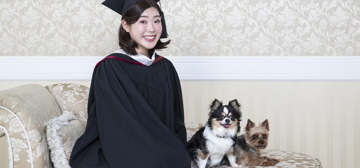 ワンちゃんと卒業記念写真
